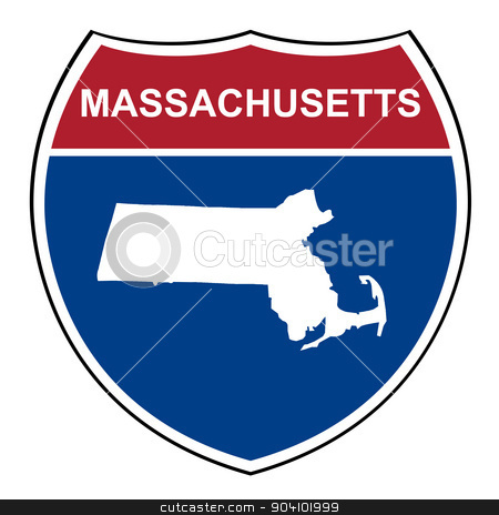 Massachusetts interstate highway shield stock photo, Massachusests American interstate highway road shield isolated on a white background. by Martin Crowdy