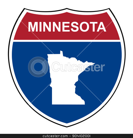 Minnesota interstate highway shield stock photo, Minnesota American interstate highway road shield isolated on a white background. by Martin Crowdy