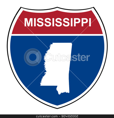 Mississippi interstate highway shield stock photo, Mississippi American interstate highway road shield isolated on a white background. by Martin Crowdy