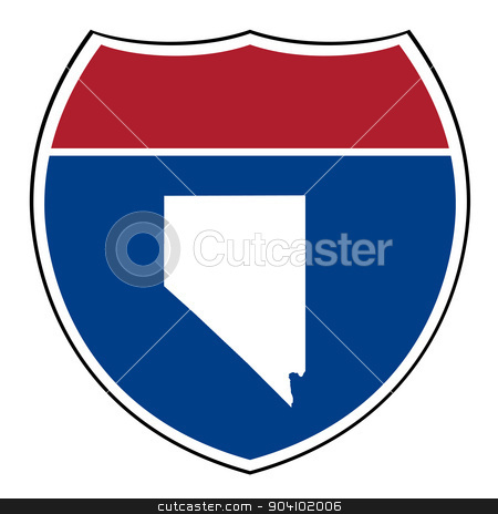 Nevada interstate highway shield stock photo, Nevada American interstate highway road shield isolated on a white background. by Martin Crowdy