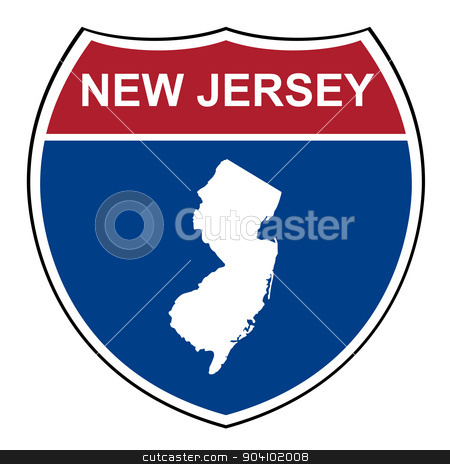 New Jersey interstate highway shield stock photo, New Jersey interstate highway road shield isolated on a white background. by Martin Crowdy
