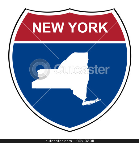 New York interstate highway shield stock photo, New York American interstate highway road shield isolated on a white background. by Martin Crowdy