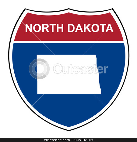 North Dakota interstate highway shield stock photo, North Dakota American interstate highway road shield isolated on a white background. by Martin Crowdy