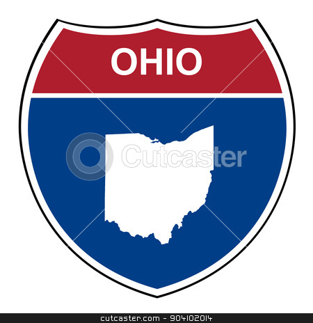 Ohio interstate highway shield stock photo, Ohio American interstate highway road shield isolated on a white background. by Martin Crowdy