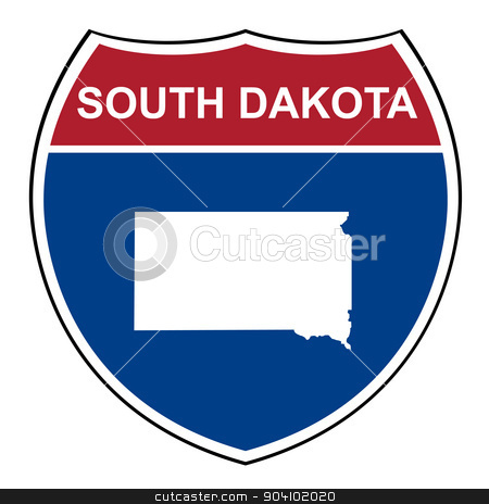 South Dakota interstate highway shield stock photo, South Dakota American interstate highway road shield isolated on a white background. by Martin Crowdy