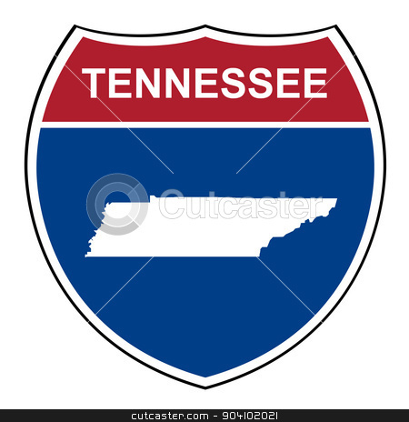 Tennessee interstate highway shield stock photo, Tennessee American interstate highway road shield isolated on a white background. by Martin Crowdy