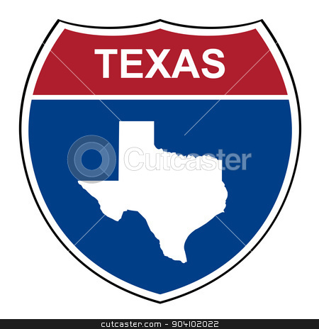 Texas interstate highway shield stock photo, Texas American interstate highway road shield isolated on a white background. by Martin Crowdy