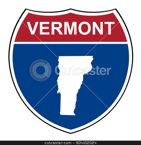 Vermont interstate highway shield stock photo, Vermont American interstate highway road shield isolated on a white background. by Martin Crowdy