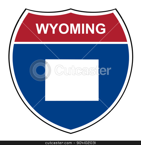 Wyoming interstate highway shield stock photo, Wyoming American interstate highway road shield isolated on a white background. by Martin Crowdy