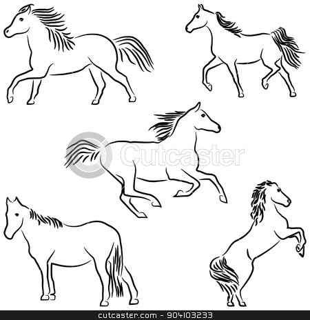 Drawn stylized horses stock vector clipart, Five stylized horses isolated on white background. by Liubov Nazarova