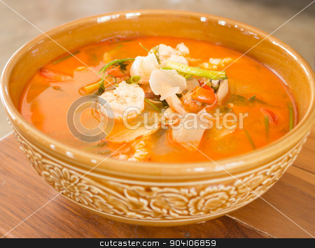 Tom Yum Kung thai spicy seafood soup stock photo, Tom Yum Kung thai spicy seafood soup by nalinratphi