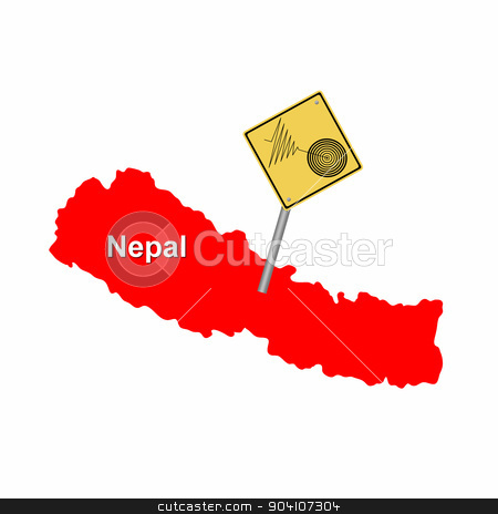 Nepal Earthquake stock photo, Red map of Nepal with a tremore warning sign. by Henrik Lehnerer