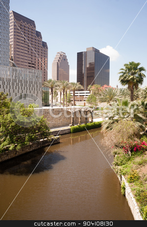 San Antonio River Flows Thru Texas City Downtown Riverwalk stock photo, The waters of the river with the same name flow through downtown San Antonio, Texas by Christopher Boswell