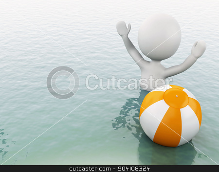 3d white people with beach ball in water. stock photo, 3d white people with beach ball in the sea. Summer vacation concept by nicolas menijes
