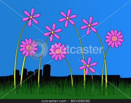 Pink Flowers in front of bleak buildings stock vector clipart, Pink Flowers in front of bleak buildings  by Andrew Brown