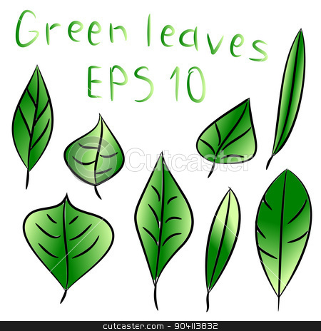 Vector illustration of ecology concept with glossy green leaves stock vector clipart, Vector illustration of ecology concept icon with glossy green leaves by Vladimir Khapaev