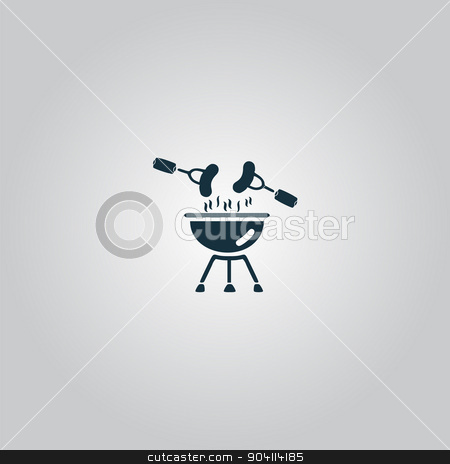Grill Or Barbecue Icon stock vector clipart, Grill Or Barbecue. Flat web icon or sign isolated on grey background. Collection modern trend concept design style vector illustration symbol by Liudmila Marykon