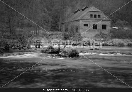 An old house near by river stock photo, An old house near by old demolished weir on the river by richpav