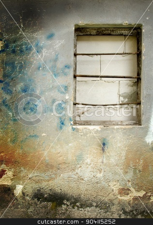 Old wall stock photo, Old damage wall and built-in window with bar. by richpav