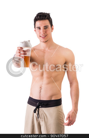 Attractive young man holding protein shake bottle stock photo, Athletic shirtless young man holding protein shake bottle, ready for drinking. Isolated on white, looking at camera smiling by Stefano Cavoretto