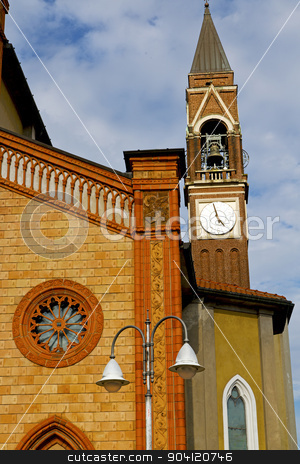 in milan   old abstract in  italy  street lamp stock photo,     old abstract in  italy   the   wall  and church tower bell sunny day  by mason luca