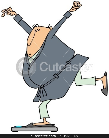 Man balancing on bathroom scales stock photo, This illustration depicts a man in bathrobe and pajamas balancing on one leg while standing on bathroom scales. by Dennis Cox