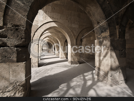 Stone Arches in Turkish Sultan Han Caravanserai stock photo, Stone hallway in Turkish Caravanserai in Cappadocia by Scott Griessel