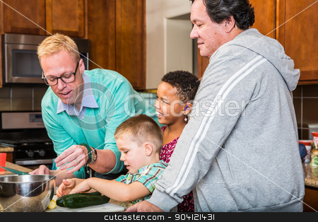 Happy Gay Dads stock photo, Happy gay dads with their children in the kitchen by Scott Griessel