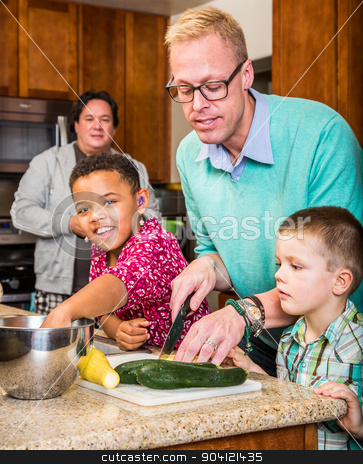 Happy Gay Fathers stock photo, Happy gay fathers with their children in the kitchen by Scott Griessel
