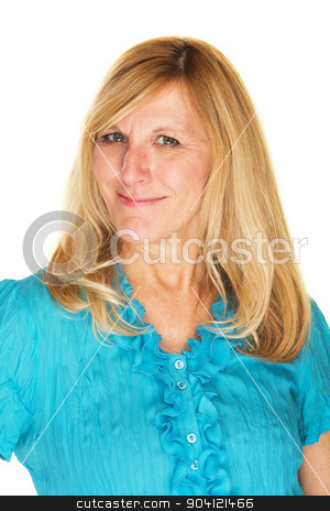 Confident Lady Smiling stock photo, Isolated single confident woman in blue with smile by Scott Griessel