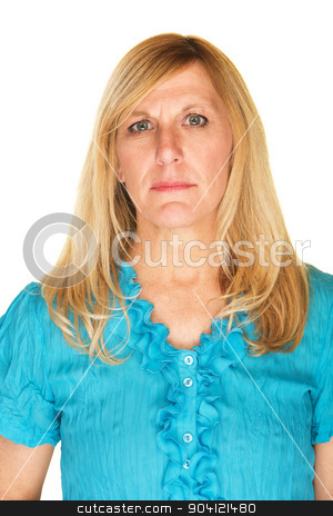 Stoic Mature Woman stock photo, Stoic middle aged white woman on isolated background by Scott Griessel