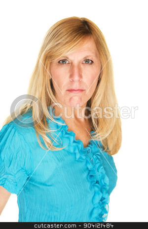 Suspicious White Female stock photo, Suspicious middle aged white female over isolated background by Scott Griessel