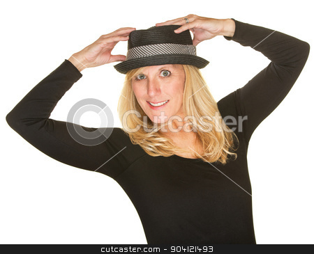 Isolated Dancer Holding Hat stock photo, Pretty middle aged dancer in black holding hat by Scott Griessel