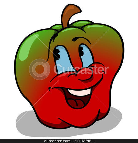 Apple With Big Smile stock photo, Apple With Big Smile - Cartoon Illustration by derocz