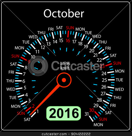 2016 year calendar speedometer car. October. Vector illustration stock vector clipart, 2016 year calendar speedometer car. October. Vector illustration. by aarrows
