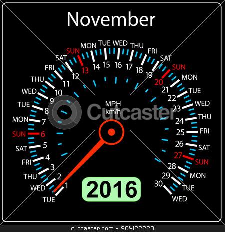 2016 year calendar speedometer car. November. Vector illustratio stock vector clipart, 2016 year calendar speedometer car. November. Vector illustration. by aarrows