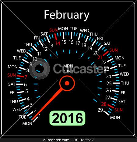 2016 year calendar speedometer car.  February. Vector illustrati stock vector clipart, 2016 year calendar speedometer car. February. Vector illustration. by aarrows