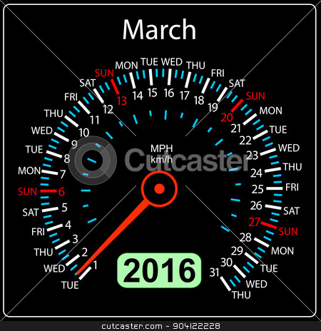 2016 year calendar speedometer car. March. Vector illustration. stock vector clipart, 2016 year calendar speedometer car. March. Vector illustration. by aarrows