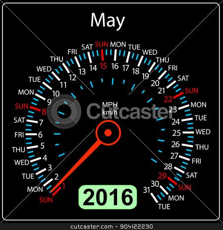 2016 year calendar speedometer car. May. Vector illustration. stock vector clipart, 2016 year calendar speedometer car. May. Vector illustration. by aarrows