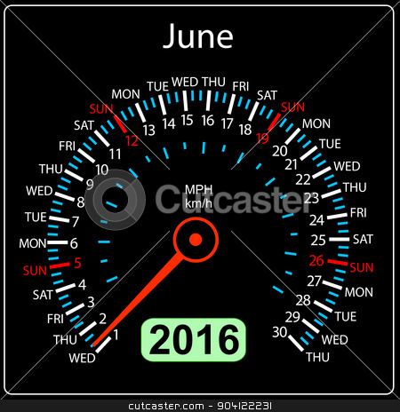 2016 year calendar speedometer car. June. Vector illustration. stock vector clipart, 2016 year calendar speedometer car. June. Vector illustration. by aarrows