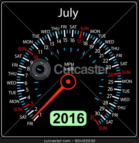 2016 year calendar speedometer car. July. Vector illustration. stock vector clipart, 2016 year calendar speedometer car. July. Vector illustration. by aarrows