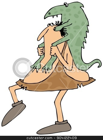 Caveman carrying a dinosaur stock photo, This illustration depicts a caveman carrying a small dinosaur on his shoulders. by Dennis Cox