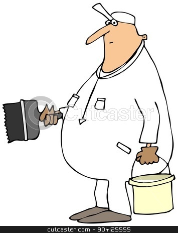 House painter stock photo, This illustration depicts a house painter holding a large brush and can of latex. by Dennis Cox