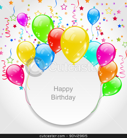 Happy Birthday Card With Set Balloons And Confetti Stock Vector