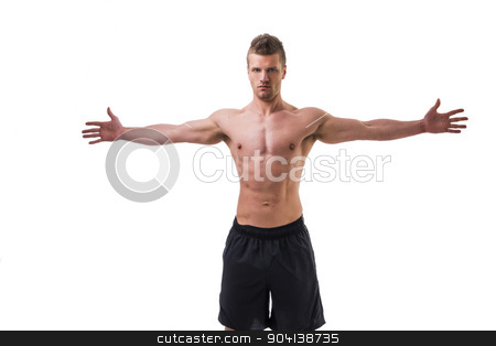 Young muscle man shirtless with arms spread open stock photo, Attractive young muscle man shirtless with arms spread open, isolated on white by Stefano Cavoretto