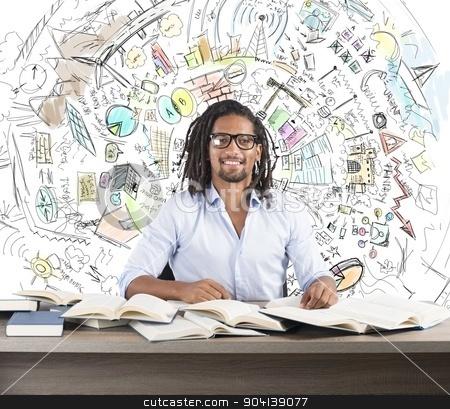 Study business innovative ideas stock photo, Man studies books to find business innovative ideas by Federico Caputo