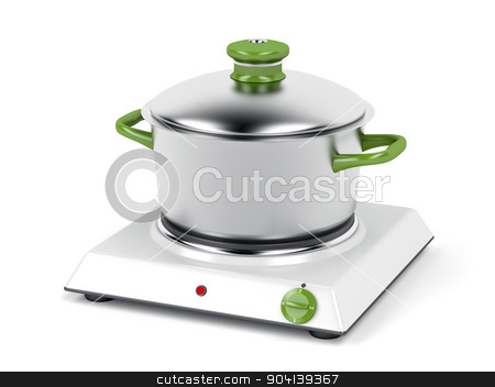 Hot plate and cooking pot  stock photo, Hot plate with cooking pot on white background by Mile Atanasov