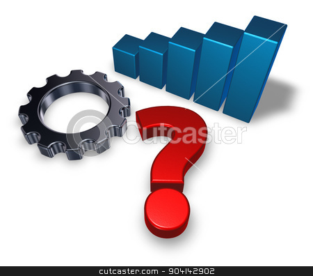 gear question stock photo, gear wheel, business graph and question mark on white background - 3d illustration by J?