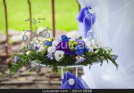 Wedding Bouquet of flowers on a table stock photo, Wedding Bouquet of flowers on a table. by timonko