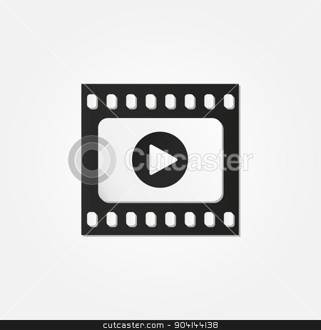 filmstrip stock vector clipart, filmstrip with five frames and reflection on white background by muuraa